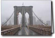 Brooklyn Bridge in the rain, printed