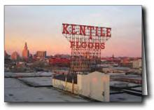 Brooklyn skyline with Kentile Floor sign, printed
