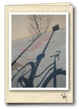 Shadow cast by bicycle